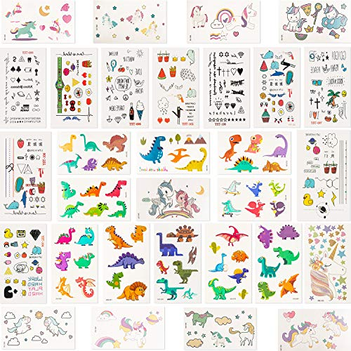 (60 Sheets Temporary Tattoos for Kids Over 800 Pieces Waterproof Unicorn Dinosaur Cartoon Tattoo Stickers for Adults Birthday Party Favors Supplies)