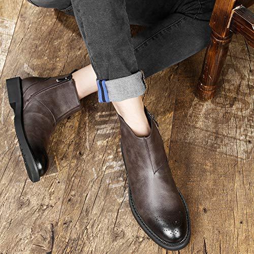 Stivaletti Retro Boot Scarpe Uomo Basse Regalo Da Lavoro Utility Martellata Chelsea Di Uomo Pelle Da Calzature Compleanno In Brown Da 0rTq0z