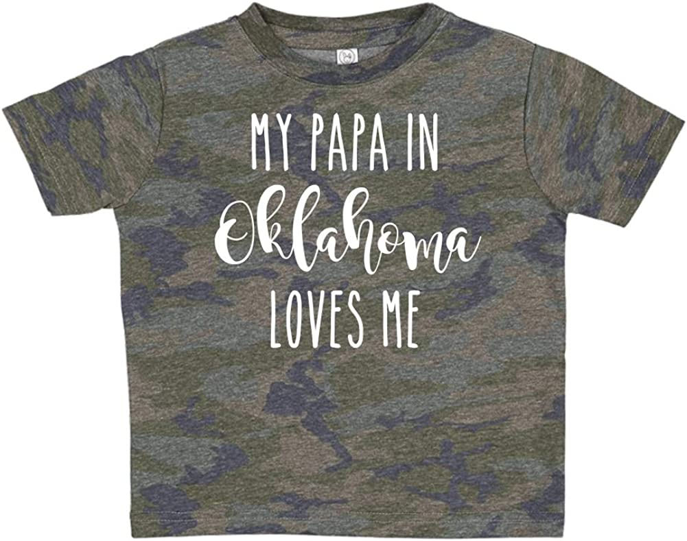 Toddler//Kids Short Sleeve T-Shirt My Papa in Oklahoma Loves Me