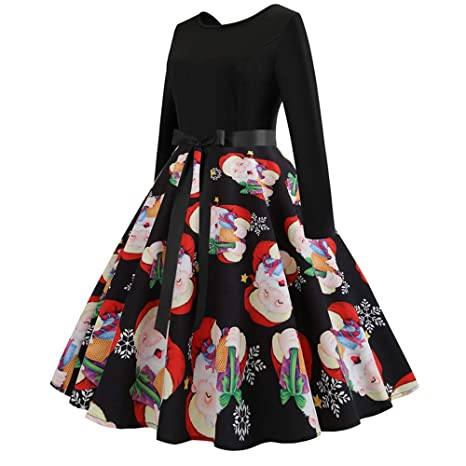 Christmas Series Dress-Womens Long Sleeve Xmas Printing Vintage Gown Evening Party Dress at Amazon Womens Clothing store: