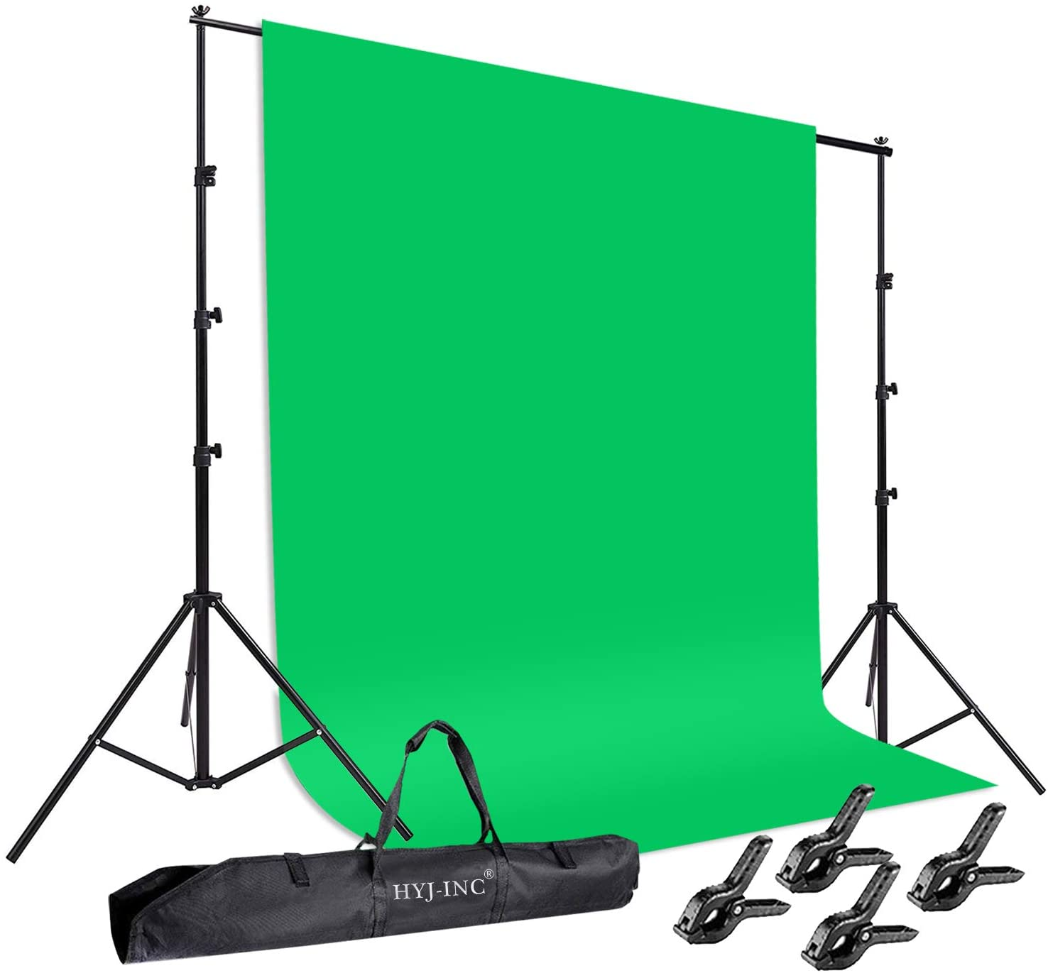 HYJ-INC Photo Background Support System with 8.5 x 10ft Backdrop Stand Kit, 6 x 9.5ft 100% Pure Muslin Chromakey Green Screen Backdrop,Clamp, Carry Bag for Photography Video Studio