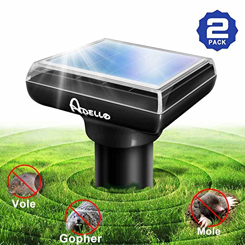 Apello 2 Pack Mole Repellant Solar Powered Mole Repeller Chipmunk Repellent Vole Gopher Repellent Ultrasonic Get Rid of Moles No Killing Like Mole Traps Gopher Trap Mole Killer or Gopher Poison (Pestchaser Rodent Repeller Electronic)