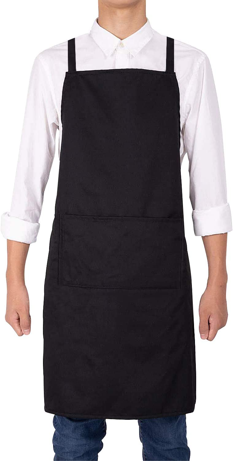 Noverlife Black Apron, Waterproof Kitchen Cooking Chef Waitress Apron, Unisex Work Protective Bib Apron, Adjustable Cross Back Straps, 2 Pockets, Ideal for BBQ, Bars, Cafes, Bistro, Shop, Salon