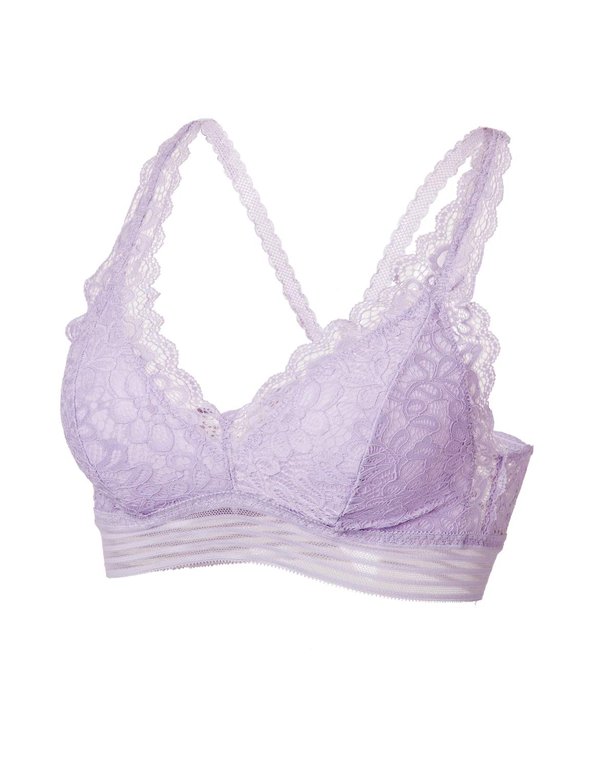 83f0e7aaa9334 DOBREVA Women s Removable Pads Wirefree Longline Deep V Floral Lace  Bralette Lilac S (32C 32D 34A 34B)