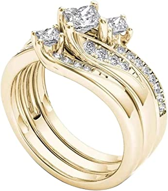 Allywit 3 in 1 Stainless Steel Rhinestone Ring for Women Ladies Jewelry Engagement Wedding Silver, 9