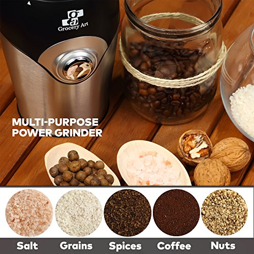 [Upgraded] Electric Coffee Grinder Blade Mill - Small & Compact Simple Touch Automatic Grinding Tool Appliance for Whole Coffee Beans, Spices, Herbs, Pepper, Salt & Nuts - Great Coffee Gift Idea! by Grocery Art (Image #4)