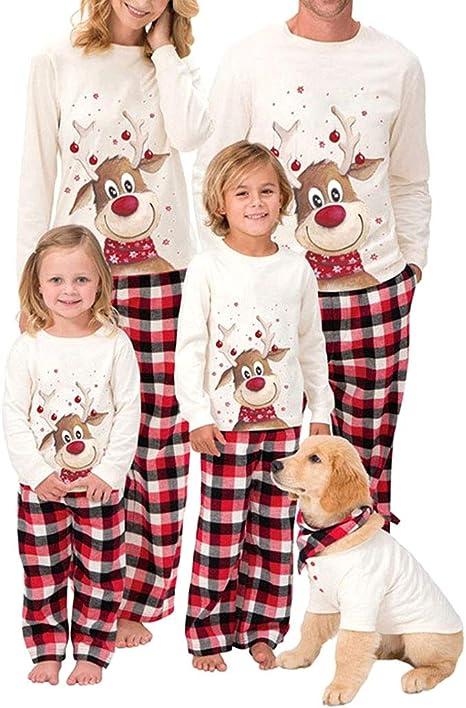Pijama de Navidad para mujer, hombre y niños, conjunto de pijamas de ciervo, estampado de cuadros, pantalones de casa, ropa de dormir