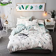 Enjoylife 100% Pure Cotton Reversible 3PCS Duvet Cover Set with matching Pillowcases for Spring/Summer Printing Flowers Leaves Super Soft Girls/Boys Teens Adults 07-Cactus Quilt Cover King Size