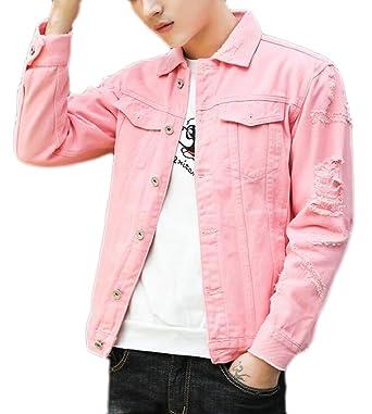 1adbb3010c6 ouxiuli Men Vintage Washed Cotton Ripped Hole Long Sleeve Denim Jacket Coats  at Amazon Men s Clothing store