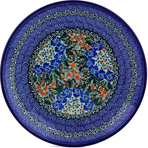 Polish Pottery Lunch Plate 10-inch made by Ceramika Artystyczna (Blue Star Flowers Theme) Signature UNIKAT