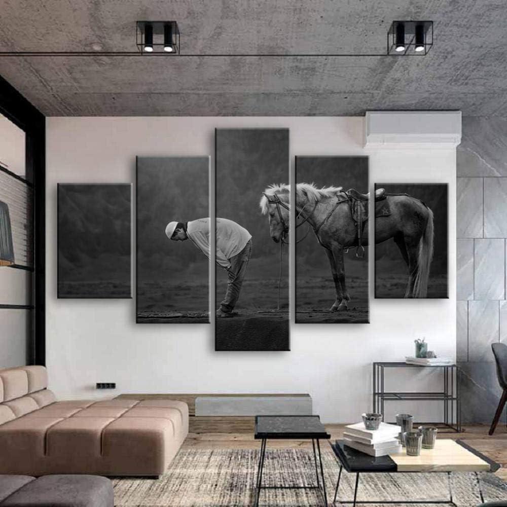 Zszy - Arte mural Islámica, 5 piezas, arte sobre lienzo de animales musulmanes de caballo, cuadros sobre lienzo, pósteres de pared para salón, decoración, 40 x 60, 40 x 80, 40 x 40 x 100 cm, sin marco