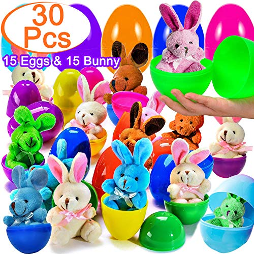 - Easter Eggs with Plush Bunny Inside, Plastic Easter Eggs Filled with Toys, 3.5'' Large Easter Surprise Egg for Girls Boys Kids Easter Party Favor, Easter Basket Stuffer, Easter Eggs Hunt, Easter Gifts( 30 Pieces)