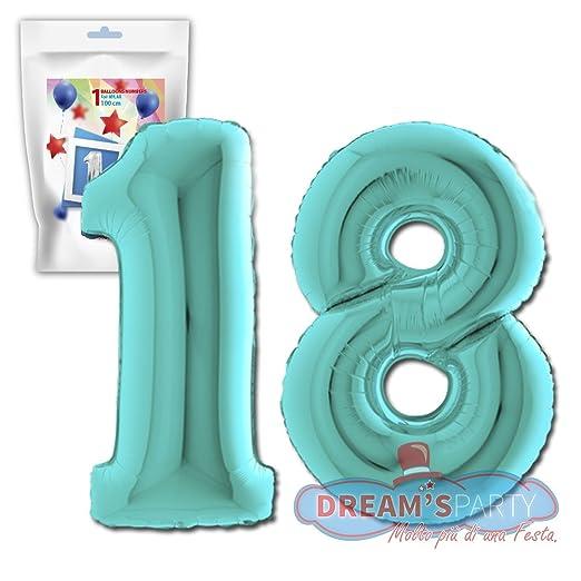 2 opinioni per Pallone PALLONCINO numero 18 Acqua Marina NUMERALE in MYLAR foil LUCIDO 100cm- 1