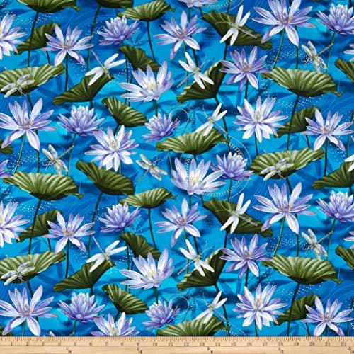 Benartex Kanvas Dragonfly Dance Waterlily Pool Cobalt Blue, Fabric by the Yard