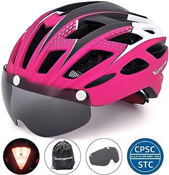 VICTGOAL Casco de bicicleta para hombres y mujeres con luz trasera ...