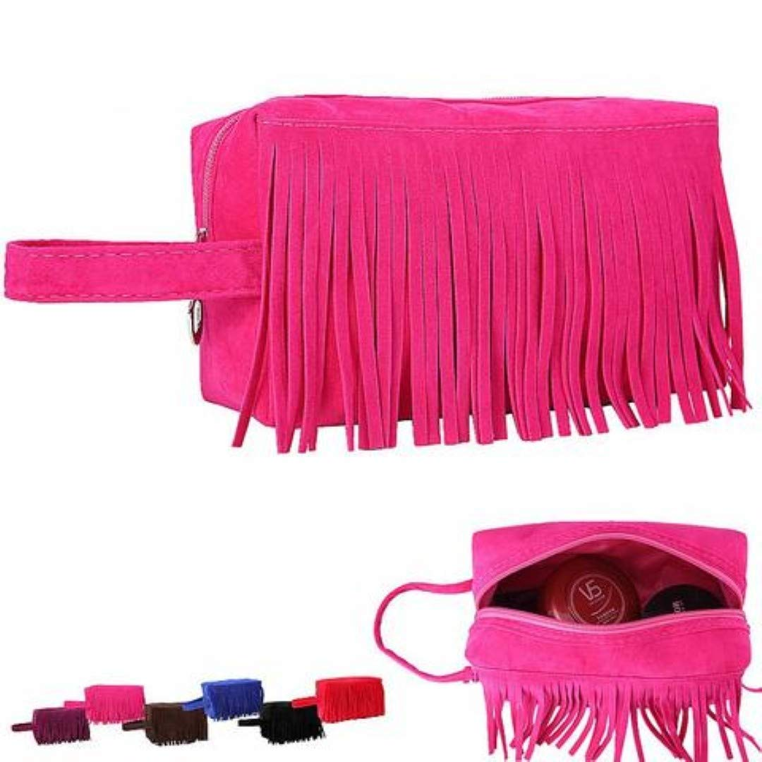 Amazon.com : Fashion Fleece Fabric Tassel travel neceser make up bag : Beauty