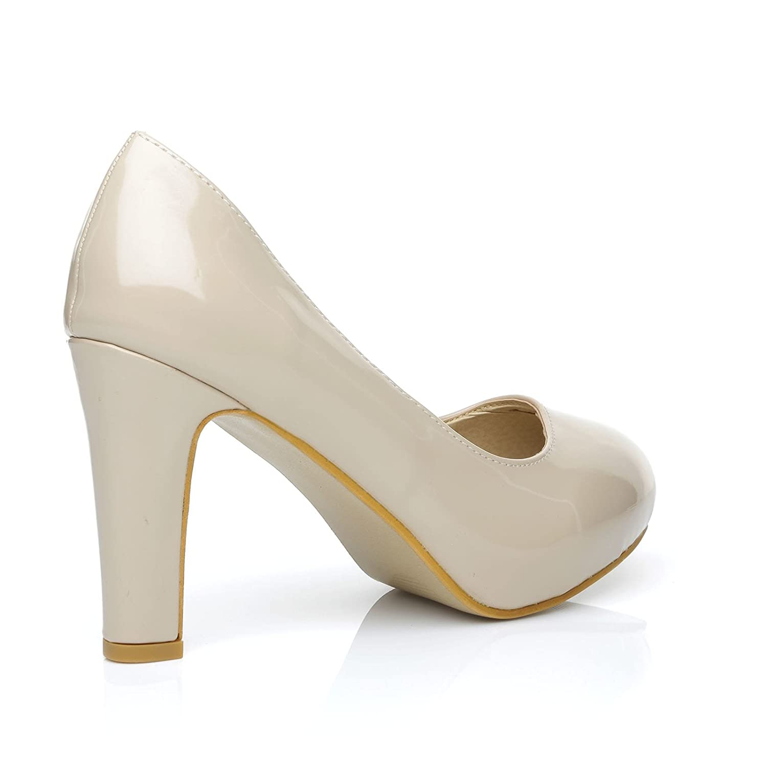 5bccb25a1d6 Love Nude Patent PU Leather Slim-Block High Heel Platform Court Shoes   Amazon.co.uk  Shoes   Bags