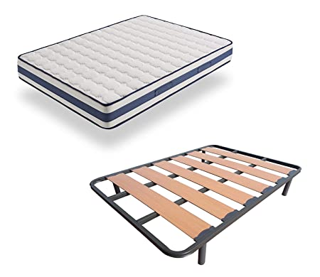 Hogar24 Bed Frame With Wide Slats Reinforced With Anti Noise Pegs