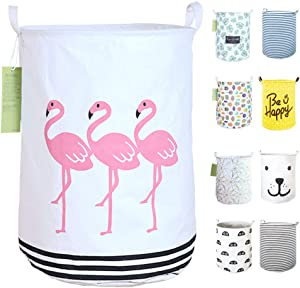 "19.7"" Collapsible Laundry Basket,Round Canvas Waterproof Large Storage Basket. (Flamingo)"