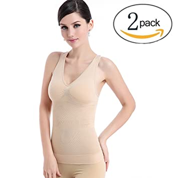 b17fe0adf3 Amazon.com  Slimming Tank Top with Built-in Bra Removable Pads V ...