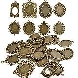 BoNaYuanDa 20pcs Mixed Antiqued Bronze Alloy Cabochon Frame Setting Tray Pendant for DIY Jewelry Making
