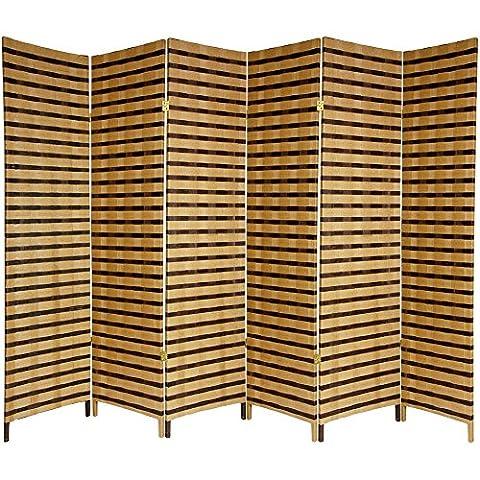 Oriental Furniture 6 ft. Tall Two Tone Natural Fiber Room Divider - 6 Panel (Wide Room Divider)