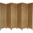 Oriental Furniture 6 ft. Tall Two Tone Natural Fiber Room Divider - 6 Panel