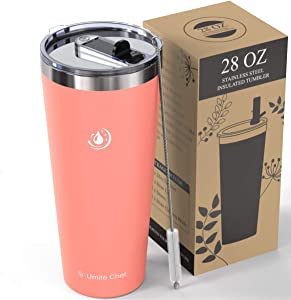 Umite Chef 28oz Tumbler Double Wall Stainless Steel Vacuum Insulated Travel Mug with Lid, Insulated Coffee Mug Cup, 2 Straws, for Home, Outdoor, Office, School, Ice Drink, Hot Beverage(Coral)