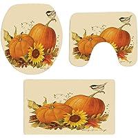 WM & MW Non-Slip Thanksgiving Pumpkin Printed Bathroom Mats Set Pedestal Rug + Lid Toilet Cover + Bath Mat (A)