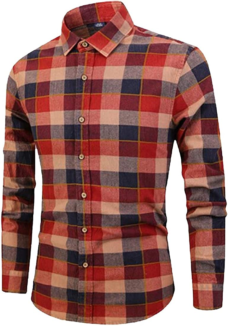 MOUTEN Mens Casual Slim Fit Long Sleeve Plaid Print Cotton Button Down Dress Shirt