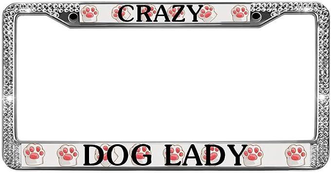 Crazy Dog Lady Chrome License Plate Frame