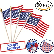 4th of July Party Decorations USA Wooden Stick Flag, 50 Pack Pre-Assembled Hand Held 5 X 8 Inch Mini American Flags Stick with Gold Spear Tip Sticker Confetti Star for Patriotic, Parade , Memorial Day