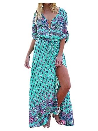 b9a58fe71e42 Sunward Women Sexy Button Up Split Floral Print Long Maxi Boho Bohemian  Dress at Amazon Women's Clothing store:
