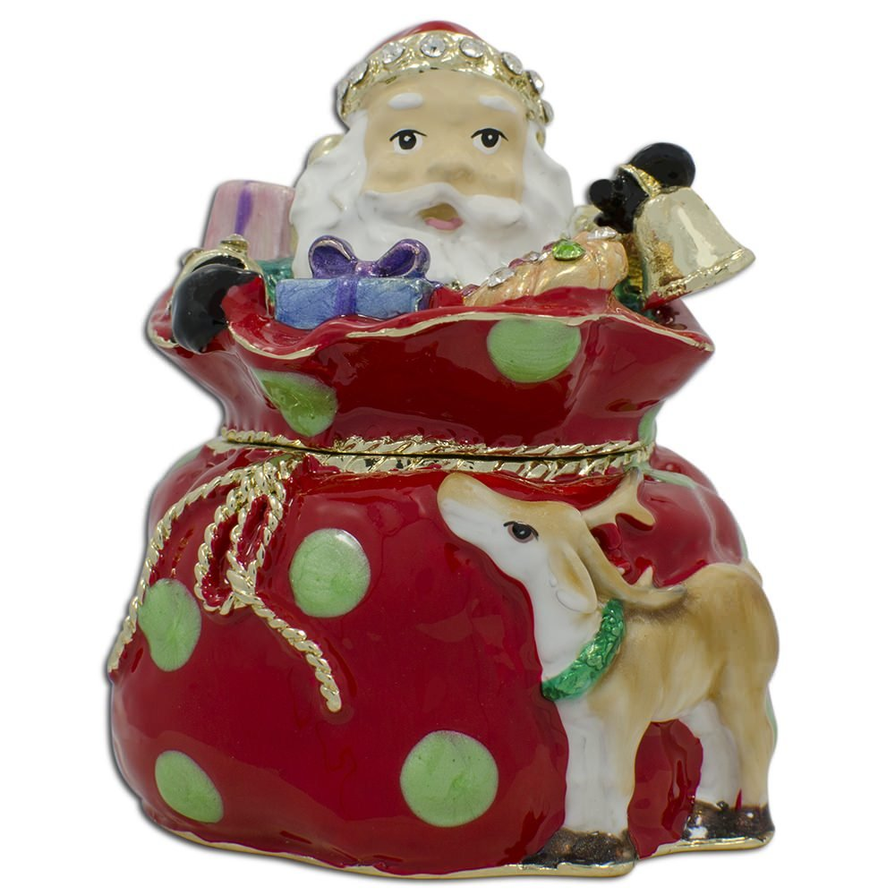 Santa Claus Christmas Gifts Bag Trinket Box Figurine