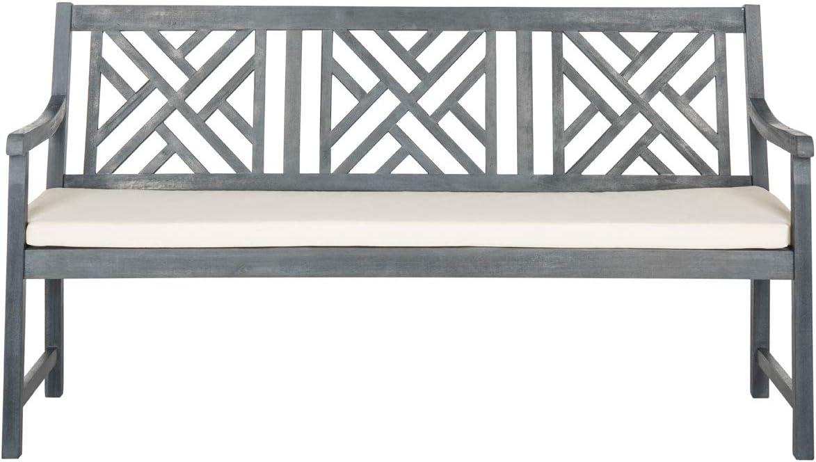 Safavieh PAT6738B Outdoor Collection Bradbury 3 Seat Bench, Ash Grey Beige