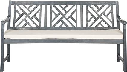 Amazon Com Safavieh Pat6738b Outdoor Collection Bradbury 3 Seat Bench Ash Grey Beige Garden