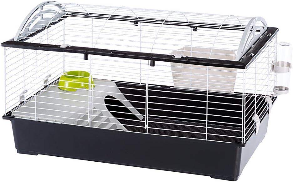 Ferplast Jaula Grande para Conejos CASITA 100 para Conejillos de Indias y pequeños Animales, Accesorios incluidos, de Alambre Pintado Blanco y plástico, 96 x 57 x h 56 cm