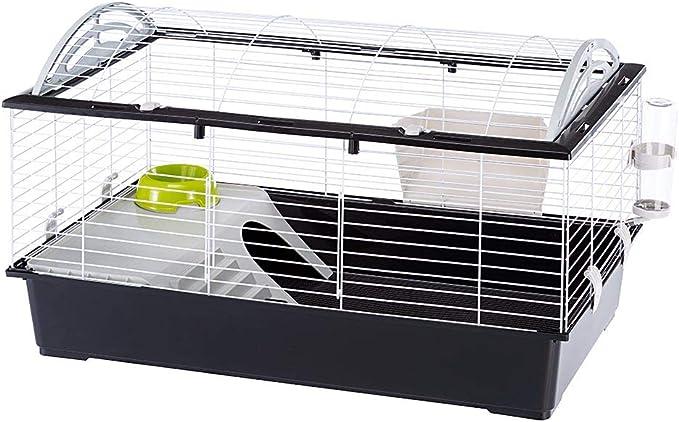 Ferplast Jaula para Conejos CASITA 100 Conejillos de Indias Pequeños Animales, Techo Redondeado Abrible, con Accesorios