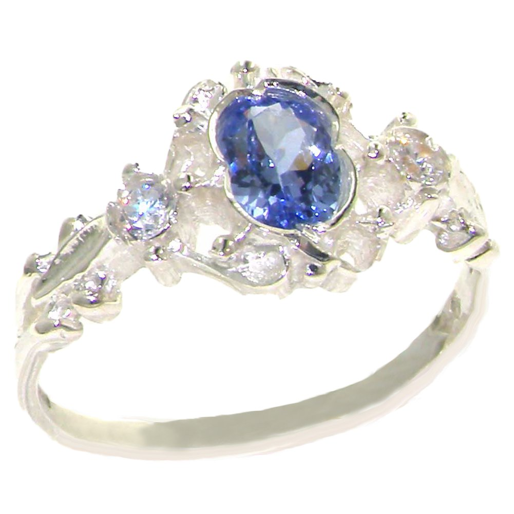 925 Sterling Silver Natural Tanzanite and Diamond Womens Trilogy Ring - Sizes 4 to 12 Available