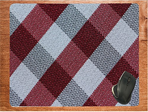 Flannel Textile Patter Black Grey Red Huge 15.75 x 19.75 Desktop Office Gamer Silicone Mouse Pad Mousepad