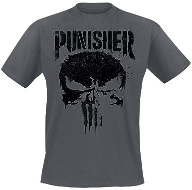 55ebdfa5 The Punisher Big Skull T-Shirt Dark Grey: Amazon.co.uk: Clothing