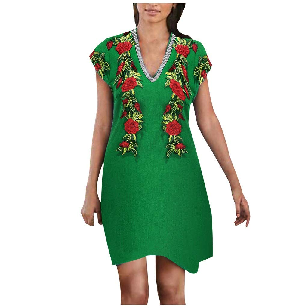 〓COOlCCI〓Women Summer Casual T Shirt Dresses Short Sleeve Floral Print Ethnic Style Boho Mini Dress Midi Dress Green by COOlCCI_Womens Clothing