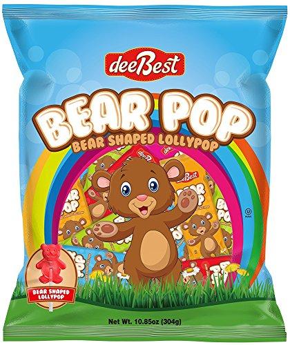 Bear Lollipop - Bear Pop - Bear Shaped Lollipops -32 Count- Assorted Flavors - Kosher