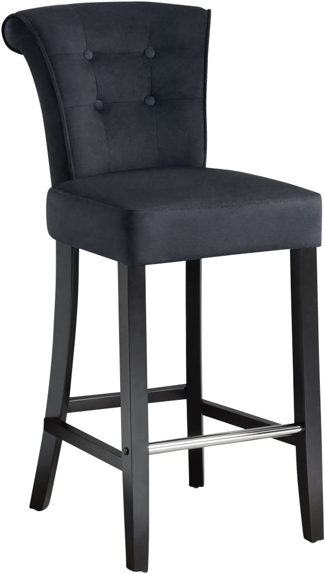 MY-Furniture Upholstered buttoned Barstool with back ring - POSITANO Black Velvet