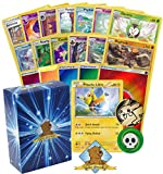 100 Pokemon Card Lot Featuring Pikachu Libre! Pikachu Coin! Rares and Foils! Energy! Includes Golden Groundhog Deck Box!