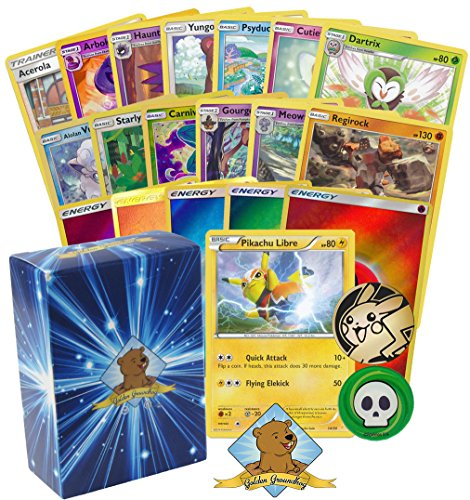 100 Pokemon Card Lot Featuring Pikachu Libre  Pikachu Coin  Rares And Foils  Energy  Includes Golden Groundhog Deck Box