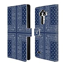 Head Case Designs Cross Blue Classic Paisley Bandana Leather Book Wallet Case Cover For LG V10