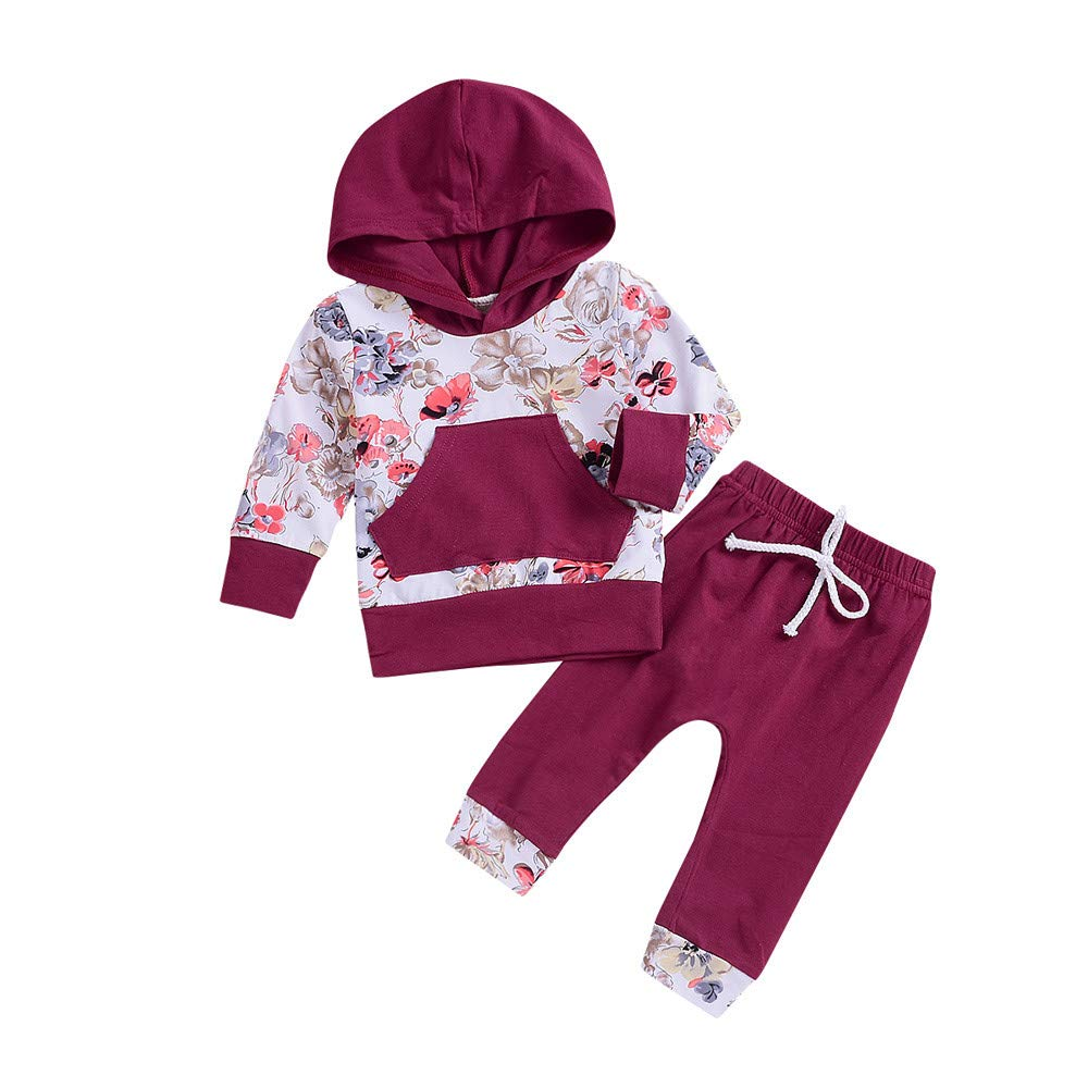 Iuhan for 0-24Months Baby Outfit Set Infant Floral Hoodies Tops Pants 2Pcs Outfits Iuhan ®