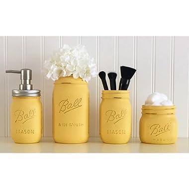 Mason Jar Bathroom Accessory Set - 4 Piece, Yellow, Soap Pump, Vase, Vanity Organizer