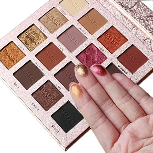 Eyeshadow Palette Makeup Matte Shimmer 16 Colors High Pigmented Cosmetic Eye Shadows (Gold)